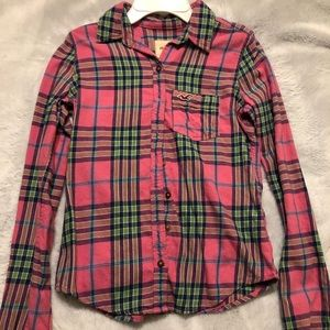 Pink Hollister Long Sleeve Flannel